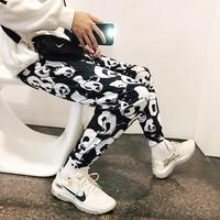 2019 Spring New Youth Japanese Trousers Trend Loose Sports College Wind Large Size Men's Black And White Casual Pants Party