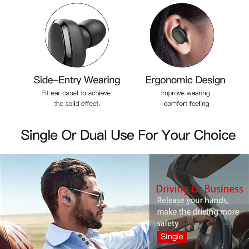 TWS Bluetooth Earphones Double Stereo Wireless Earbuds Bass Bluetooth Headset Handsfree For Smart Phone PC Pad Audio Call T12 in Bluetooth Earphones Headphones from Consumer Electronics