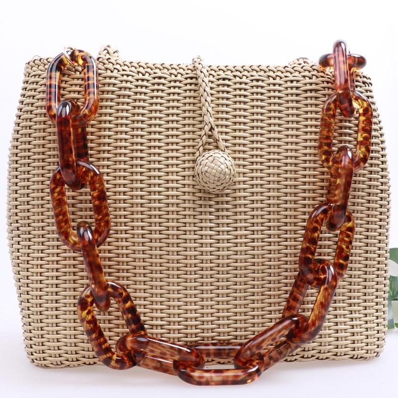 Acrylic Women Handbags Strap Thick Chain For Bags Leopard Shoulder Resin Strap Replacement Bag Chains Plastic Chain 60cm 120cm