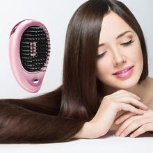 Mini Portable Electric Hair Ionic Brush Hair Straightener Brushes Negative Ion Comb Anti-static Straight Massager Hair Care Comb все цены