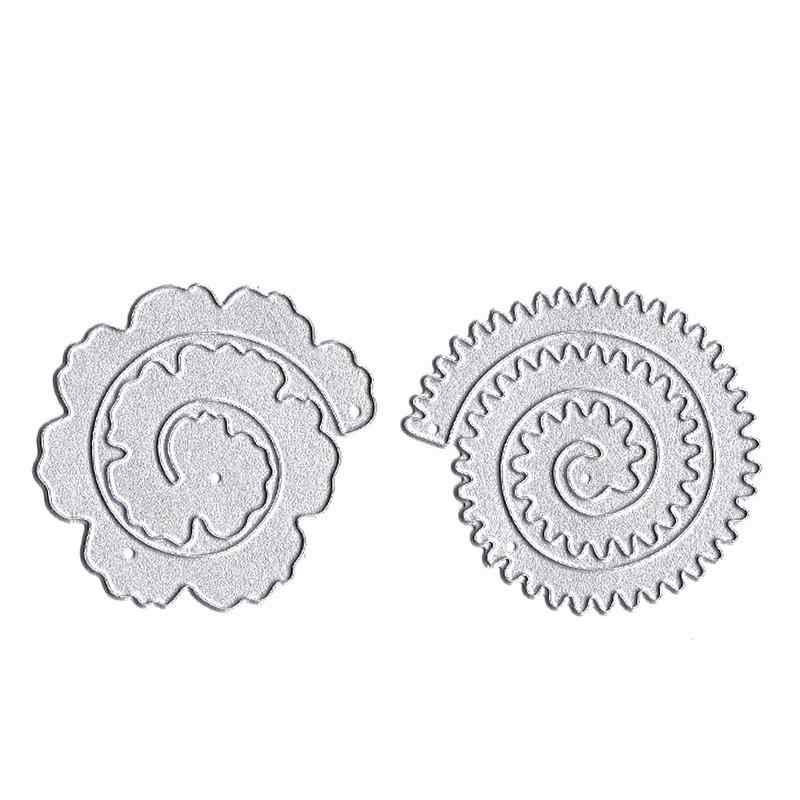 2 PC Lace Edge Flower Shaped Metal Cutting Die Stencils for DIY Scrapbooking album Decorative Embossing Hand on Paper Cards #EW
