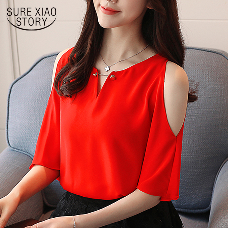 2018 new summer fashion short sleeved blouses chiffon shirts solid elegant women clothing casual hole women tops D616 30