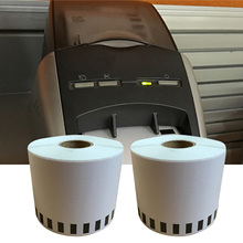 2 Rolls Adhesive Thermal Continuous Length Paper Tape Labels Shipping Address Labels for Brother DK-2205 Black on White 62mm