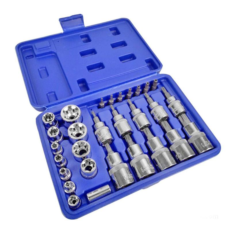 29pcs Socket Ratchet Wrench Set Hardware Combination Tool Kit British System Automobile Car Repair Tool Hand Tool Sets Home Use