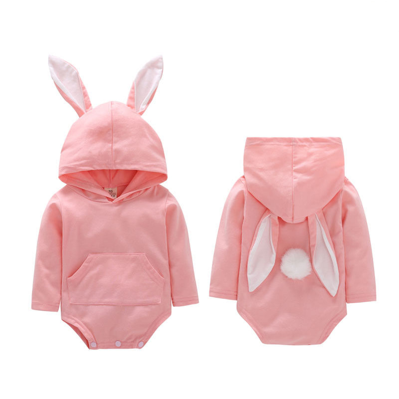 Easter Baby Clothes Toddler Infant Baby Boys Girls Long Ear Romper Rabbit Ear Hooded Jumpsuit Cute Baby Clothes