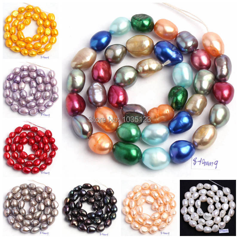 "Free Shipping 18 Color 8-9mm multicolor Natural Freshwater Pearl Irregular Shape Loose Beads Strand 14"" Jewellery Making wj50"