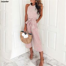 hot deal buy women one piece rompers blue pink striped jumpsuits sexy sleeveless halter bow tie wide leg loose rompers casual office overalls