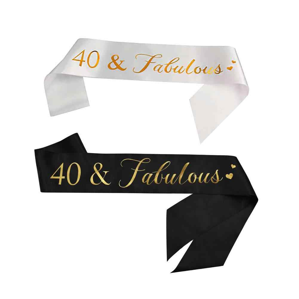 40&Fabulous Sash - 40th Birthday Bronze Belt Birthday Gift Party Supplies Decorations