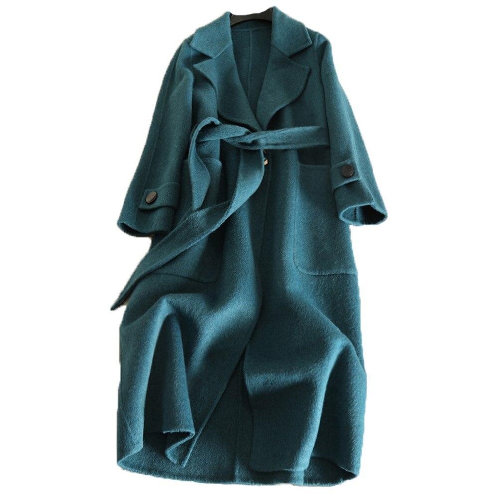 Long apricot Double Saison noir pourpre bleu Face Alpaga Laine vert camel 2018 De Beige Automne Manteau jaune Cachemire Nouveau Anti Femmes Mince 100 vwqI74R4