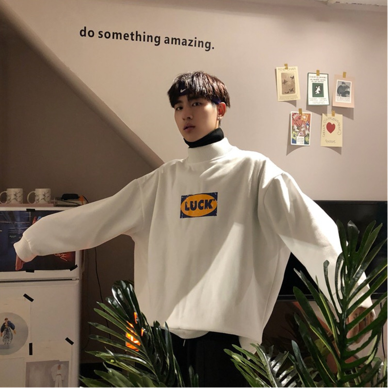2019 Spring Korean Campus Trendy Turtleneck Hoodies Men Long Sleeve Casual Loose Solid Color Round Neck Sports Pullover