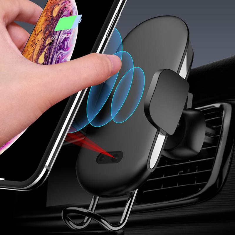 Car Stand Holder Automatic Infrared Sensor QI Fast Wireless Black Charger Holder For Iphone X For Samsung S8 S9 Note 9