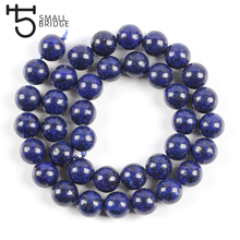 6 8 10 MM Smooth Blue Lapis Lazuli Beads For Bracelet Making Jewelry Diy Round Natural Stone Strand Beads Wholesale S102 wholesale 12 18 mm stick shape lapis lazuli blue stone beads for jewelry making diy necklace bracelet material strand 15