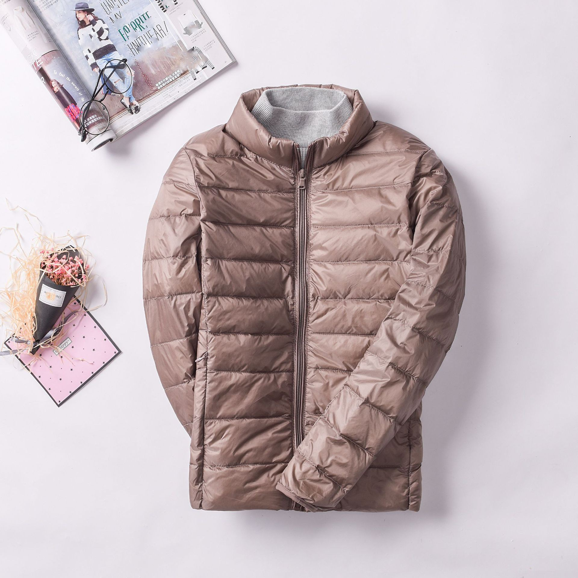 Plus Size Winter Women Casual Long Sleeve   Parkas   Light White Duck Down Warm Jacket Zippers Female Slim Outwear