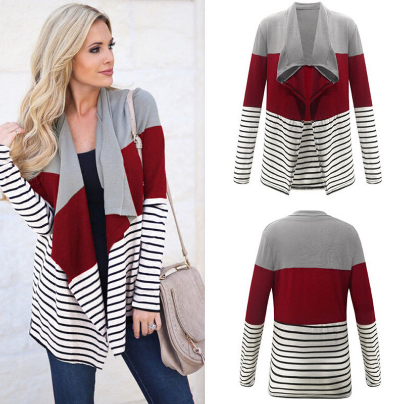 Fashion Women Autumn Spring Baggy Cardigans Waterfall Knitted Oversized Sweater Jumper High Street Striped Patchwork Outwear como vestir con sueter mujer