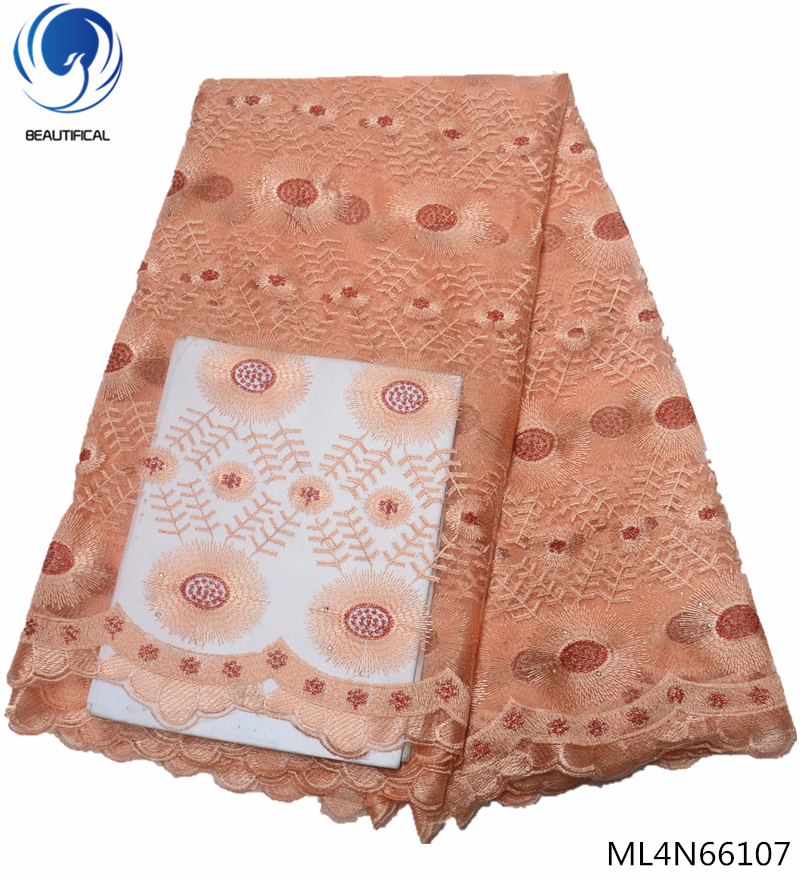 BEAUTIFICAL french embroidery tulle lace fabric 5 yards african 2019 net lace fabric nigerian french fabric with lace ML4N661 in Lace from Home Garden