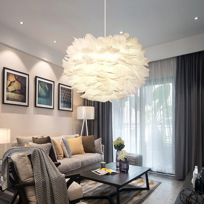 Us 31 82 45 Off 30cm Nordic Creative White Feather Ceiling Pendant Light Shade Non Electrical Lampshade For Living Room Dining And Bedroom In