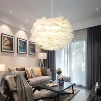 30CM Nordic Creative White Feather Ceiling Pendant Light Shade Non Electrical Lampshade For Living Room Dining Room And Bedroom