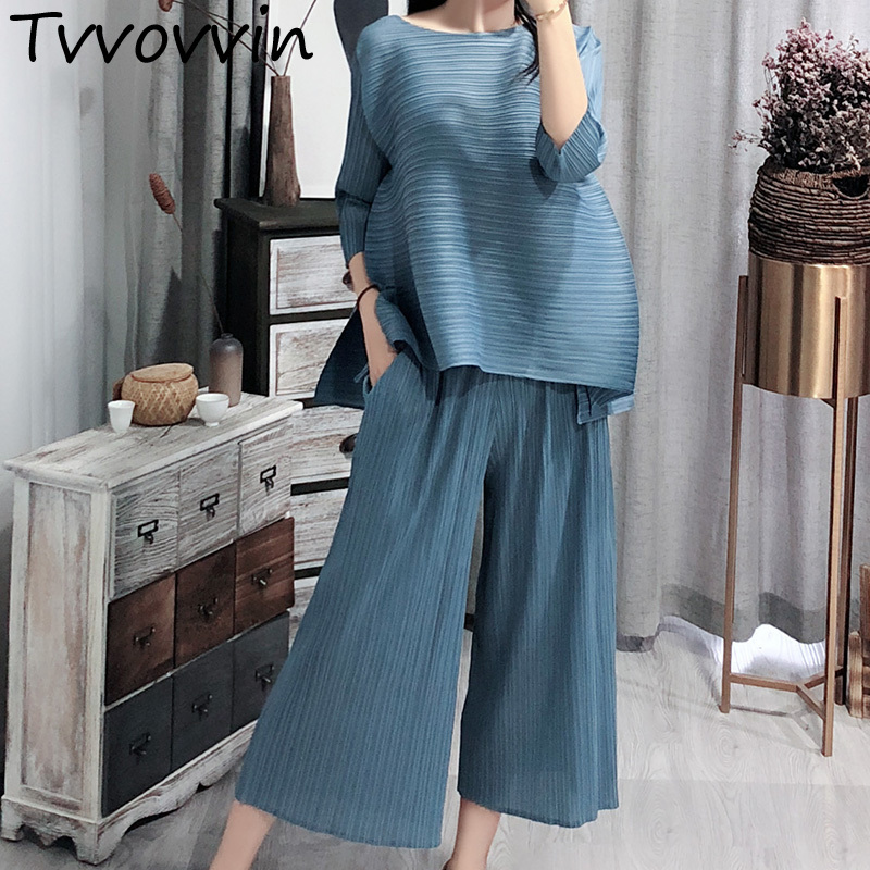 TVVOVVIN 2019 New Autumn Vintage O Collar Loose Three Quarter Sleeve Tops Full Length Pants Suit