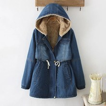 Fashion Winter Casual Medium-Long Hooded Blue Outwear Women Lambswool Sashes Denim Coat Thickening Long Sleeve Jeans Jacket dc12v 1 4 3 way 2 position pneumatic solenoid valve electric solenoid valve for water air gas