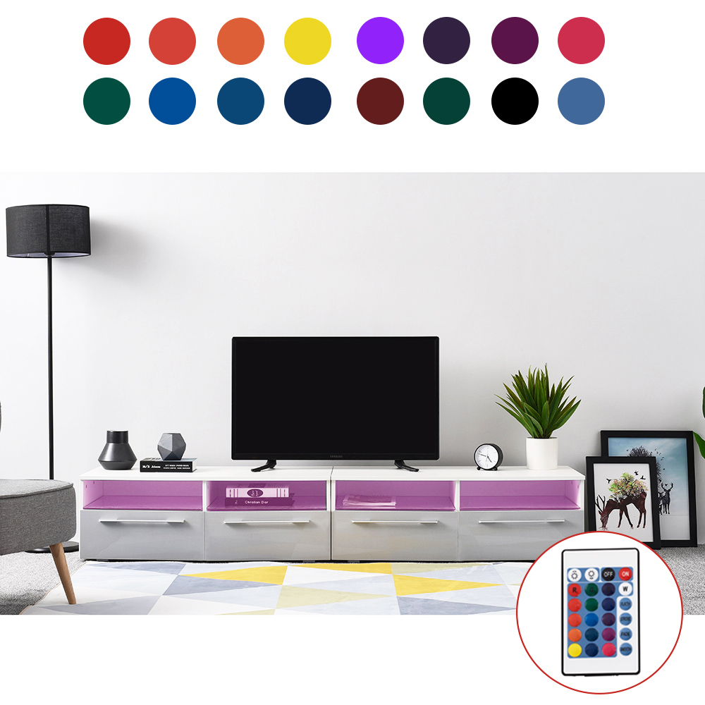Panana 200cm Length Modern TV Stand Cabinet Unit Lowboard Entertainment Media FREE RGB LED Lighting
