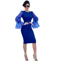 MUXU blue dress long sleeve womens clothing vestidos sexy bodycon kleider summer sukienka fashion clothes elegant long sleeve