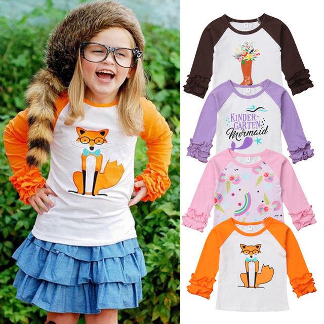 אופנה חד קרן יילוד פעוט תינוק בנות Cartoon כותנה למעלה חולצה בגדים