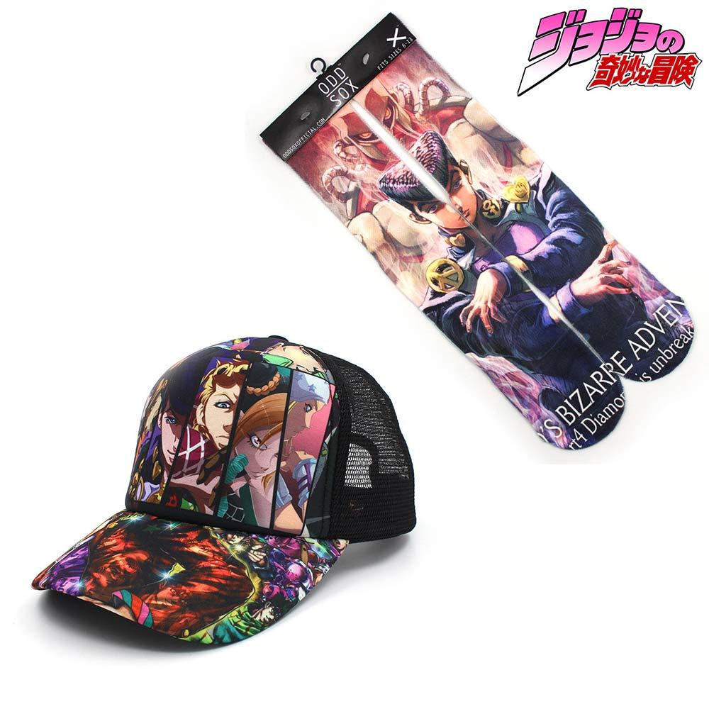 OHCOMICS JoJo's Bizzare Adventure 2PCS Hot Anime Baseball Cap+Socks Hat Peaked Cap Stockings Hose Tight Costume Accessories Sets