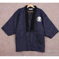 Japanese Men Hanten Winter Warm Wadded Cotton Kimono Haori Coat Outterwear Casual Home Clothes Men Loose Overcoat DH051