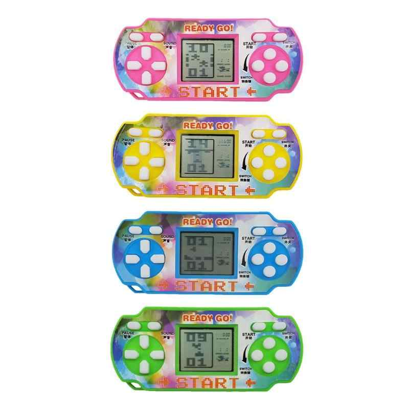Mini Tetris Game Console LCD Handheld Game Players Children Educational Anti-stress Electronic Toys Random Color 1pc Portable