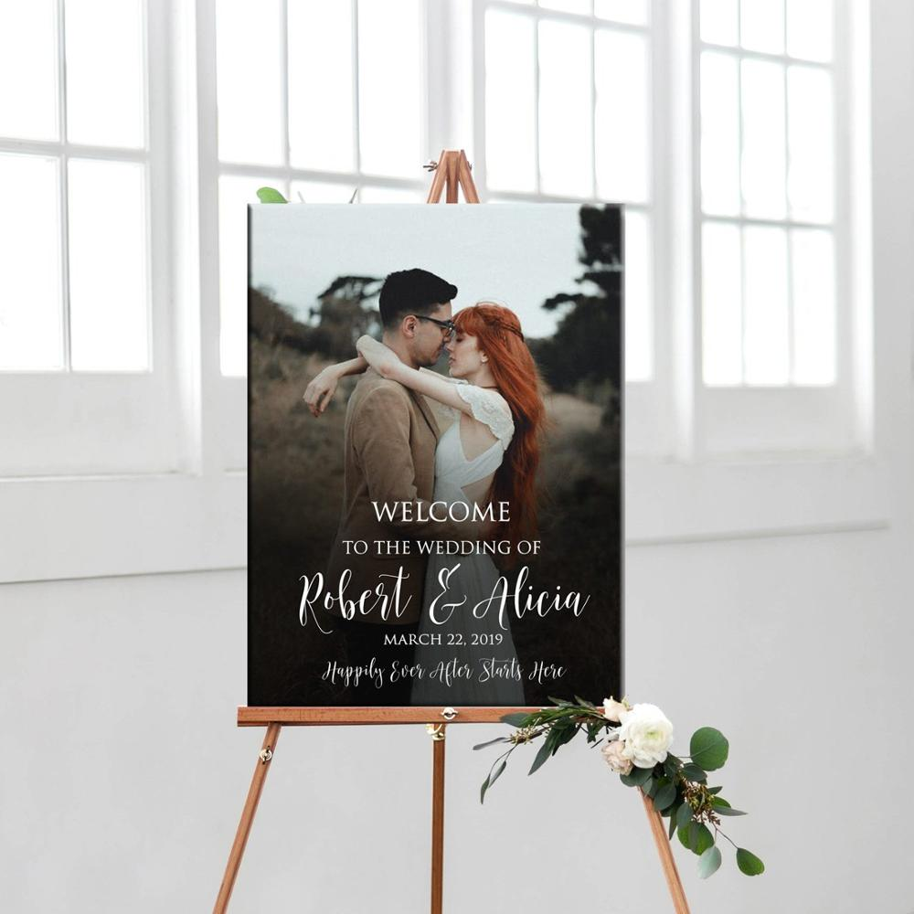 Photo wedding welcome sign  printable personalized photo welcome sign  custom wedding or rehearsal dinner photo welcome sign|Party Direction Signs|   - title=