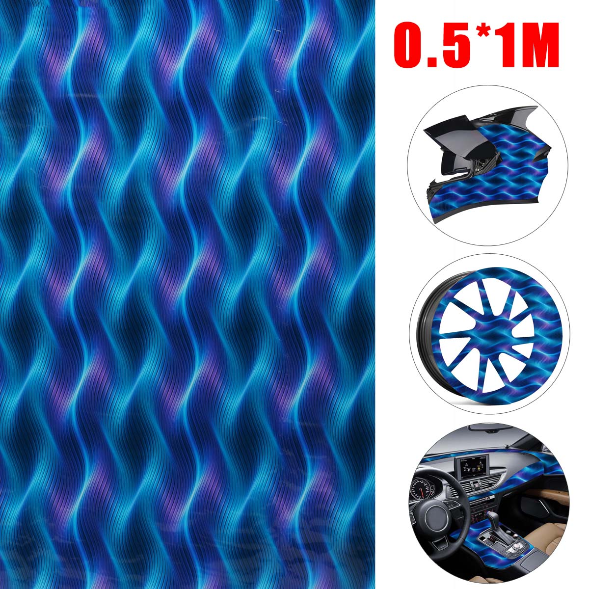1 Roll 50x100cm PVA Hydrographic Water Transfer Hydrodipping Film Blue Purple Ribbon Pattern Car Styling Auto Motorcycle Decor