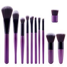 11pcs/set Professional Makeup Brushes Set Purple Plastic Super Soft Cosmetic Eyeshadow Foundation Concealer Make up Brush Set цены