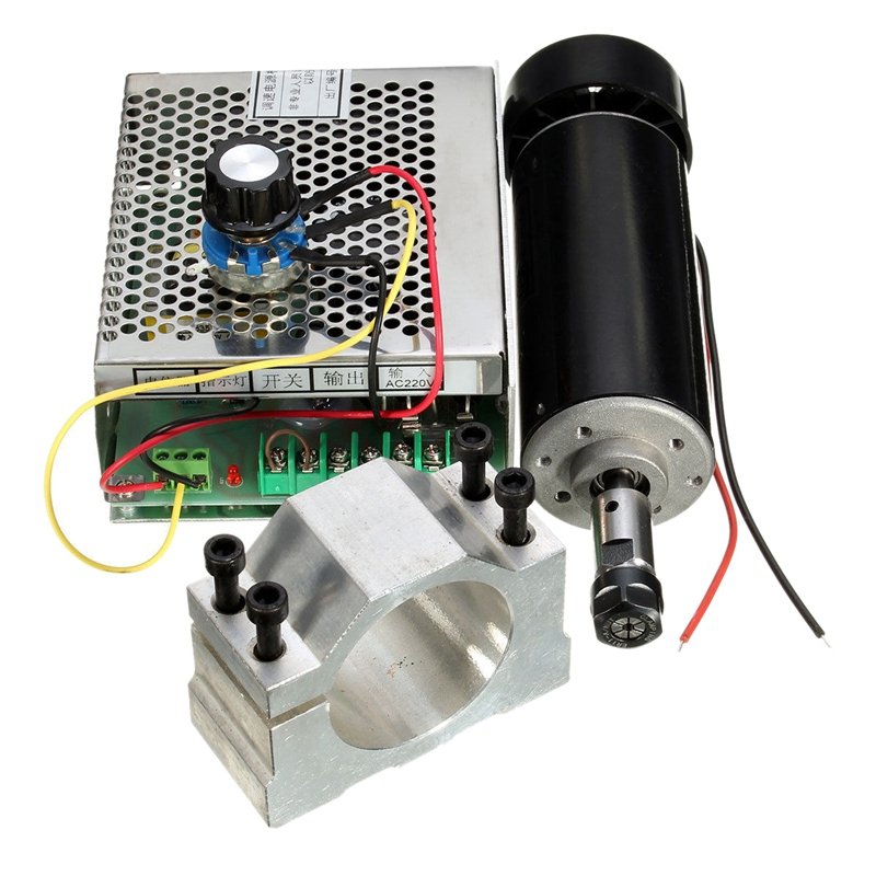500W Air Cooled Spindle ER11 CNC Spindle Motor Kit + Adjustable Power Supply 52MM Clamps ER11 Collet Chuck For Engraving Machi