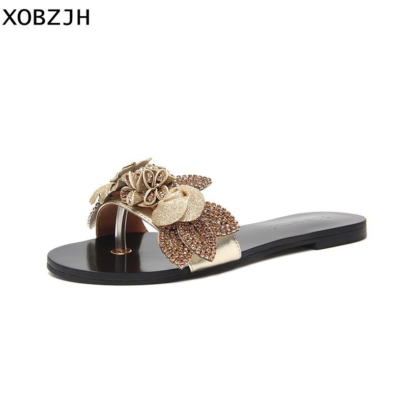 Summer Shoes Slippers Flower Beach Sandals Gold Flat Bohemian Women Ladies Luxury on