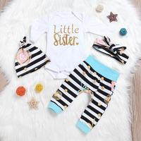 Newborn Clothes Baby Girl Clothes Baby Boy Clothes Cute Long Sleeve Bodysuit Pants Hat Headband Outfits Suit Costume Clothing D4