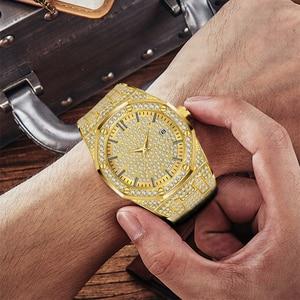 Image 5 - 18 18kゴールド腕時計メンズ高級ブランドダイヤモンドメンズ腕時計トップブランドの高級ffアイスアウト男性クォーツ時計カレンダー男性のためのユニークなギフト