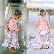 Комплект одежды для маленьких девочек, летняя футболка без рукавов, топы, юбка с цветочным принтом, одежда для девочек, комплект из 2 предметов, От 1 до 6 лет