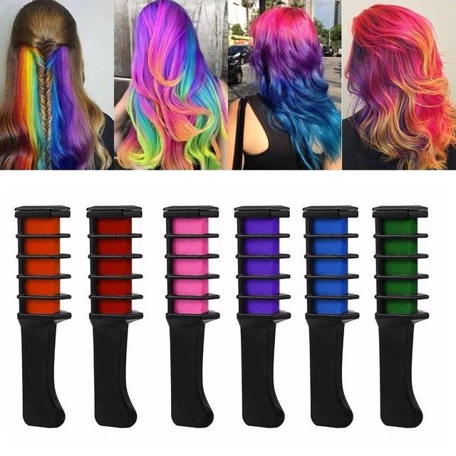 Pelo temporal Pro Mini Chalks crayones 6 colores para el cabello tinte Multicolor tinte cabello peine cuidado del cabello estilo herramientas TSLM2