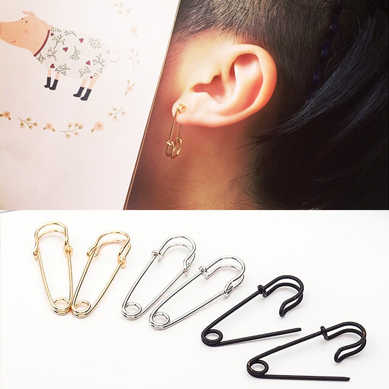 2019 New Arrival Party 1Pair Gifts High Quality Golden/Silvery/Black Safety Pin Puncture Earring Graceful Beautiful Allergy Free