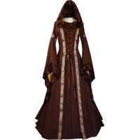 Women Medieval Long Maxi Dresses Gowns Boho Peasant Wench Victorian Dress Vintage Long Sleeve Renaissance Dress
