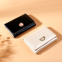 Womens Wallet Tri-Fold Purse Short Paragraph Small Love Korean Version Leather Multi-Card Position