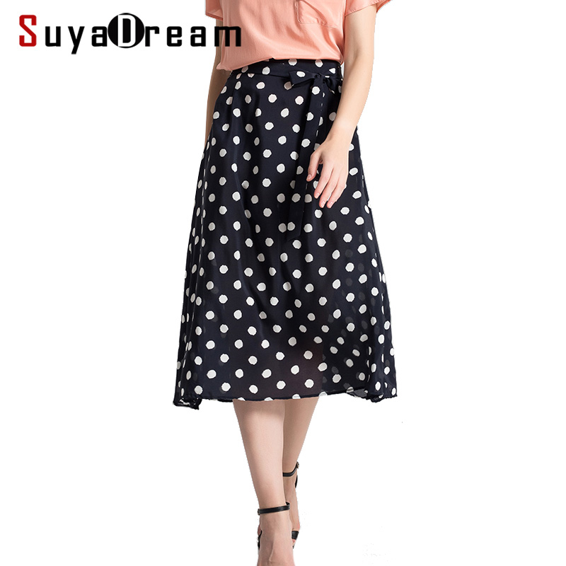 Femmes jupe 100% vrais points de soie imprimé jupe pour femmes a ligne longues jupes 2019 nouveau printemps-in Jupes from Mode Femme et Accessoires    1