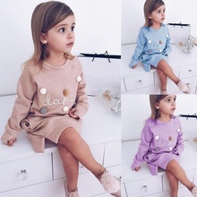 Toddler Baby Girls Kids Winter Long Sleeve Princess T-shirt Party  Outfits Lovely Girl Clothes