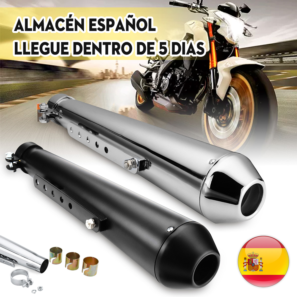 Motorcycle Cafe Racer Exhaust Pipe with Sliding Bracket Matte Black Silver Universal title=
