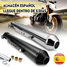 Tubo de escape para motocicleta tipo Cafe Racer con soporte deslizante negro mate plateado Universal