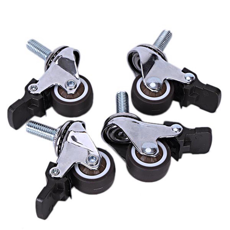 4 Pcs Mini Kleine Rollen Leise Räder Mit Bremse Universal Rollen Rad