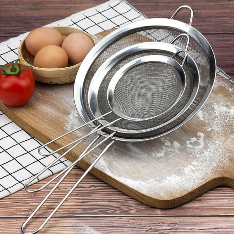 Flavor In 8/10/12/14cm Stainless Steel Flour Sieve Wire Fine Mesh Oil Strainer High Quality Flour Sifter Sieve Colanders Diy Kitchen Tools Fragrant