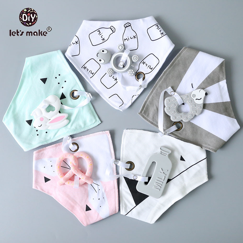 Let's Make Baby Stuff Bibs & Burp Cloths 1pc Cotton Bib Cartoon Silicone Teether BPA Free Baby Things Feeding Baberos Burp Cloth
