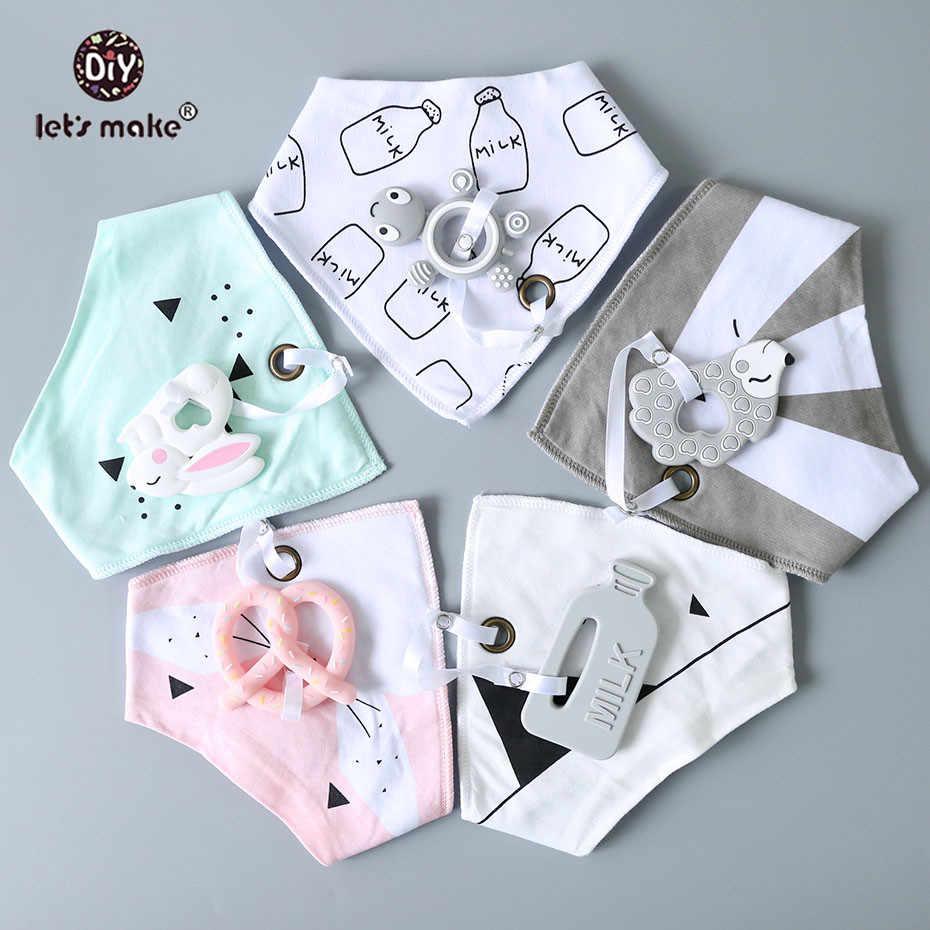 Vamos a hacer cosas de bebé Baberos y paños de eructos 1 pieza de algodón babero de dibujos animados de silicona mordedor de BPA gratis bebé cosas alimentación Baberos eructo paño