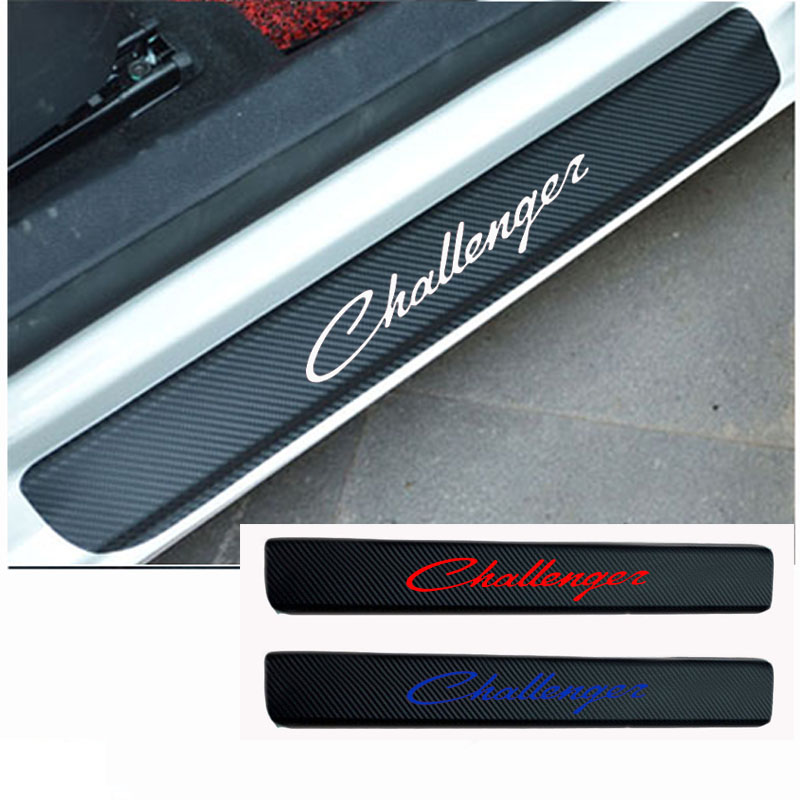 2PCS Carbon Fiber Vinyl Welcome Pedals Sill Guards sticker car door sill sticker for Dodge Challenger Car accessories
